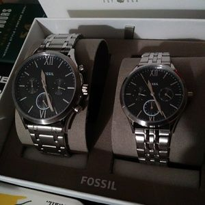 Fossil Couple Set watch Fenmore silver bracelet